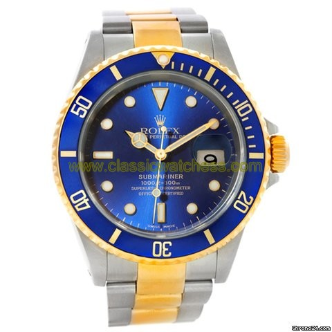 replica Rolex Submariner Steel Yellow Gold Blue Dial Watch 16613 WATCHES 1
